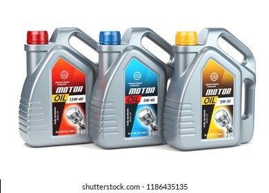 Pllastic motor oil canisters with different types of motor oil on white isolated background.. 3d illustration