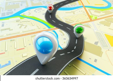 Plot a trip route, travel destination and navigation concept, road lane with colorful pin markers on city map