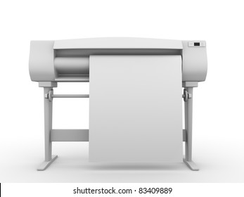 Plotter. Frontal view. Professional equipment for digital printing. 3d render