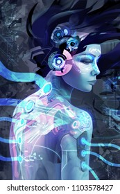 Plugged in - Cyberpunk inspired technological image of android, human, cybord woman being plugged in, uploaded and recharged.