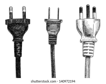plugs drawing on white background