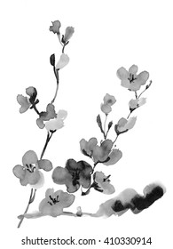 plum blossom, ink illustration in the Japanese style of sumi-e on a white background
