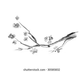 Plum blossom, picture in east style by India ink, sumi-e.