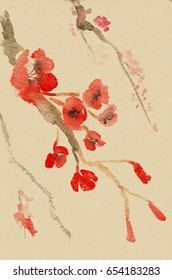 Plum blossom. Picture in east style by India ink, sumi-e
