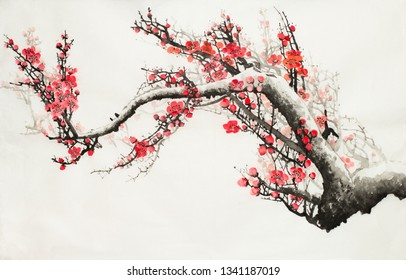 plum blossoms on a light background