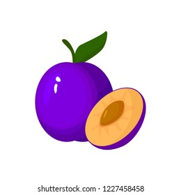 Plum isolated on white background. Bright  illustration of colorful half and whole of juicy plum. Fresh cartoon plums.