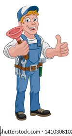 Plumber or handyman cartoon mascot holding a plumbing drain or toilet plunger.Giving a thumbs up.