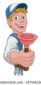 Plumber or handyman cartoon mascot holding a plumbing drain or toilet plunger. Peeking around a sign