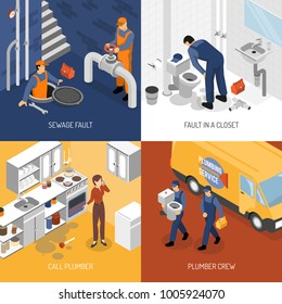 Plumber isometric design concept with square compositions of plumbing crew characters site visit and repair process  illustration
