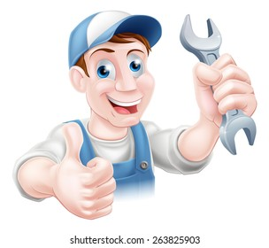 A plumber or mechanic in hat and overalls holding a spanner and giving a thumbs up