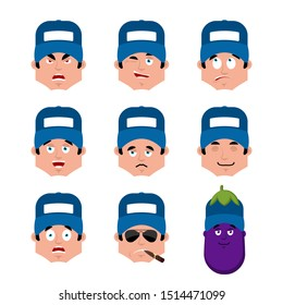Plumber set emotion avatar. sad and angry face. guilty and sleeping avatar. fitter sleeping emoji face. Eggplant