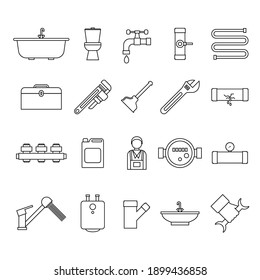 Plumbing Equipments and Tools Black Thin Line Icon Set Isolated on White Background Include of Toilet, Faucet, Bath and Pipe. illustration