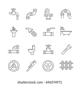 Plumbing, sewerage, pipe, faucet thin line icons set. Pipe and valve to bathroom and toilet, shower and part of pipe illustration