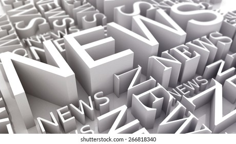 A plurality of lettering news 3d rendering on white background with focus effect