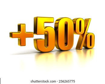 Plus Fifty Percent Sign in Gold Metal on White Background