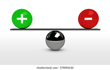 Plus and minus sign and icon business benefit cost balance concept 3d illustration.