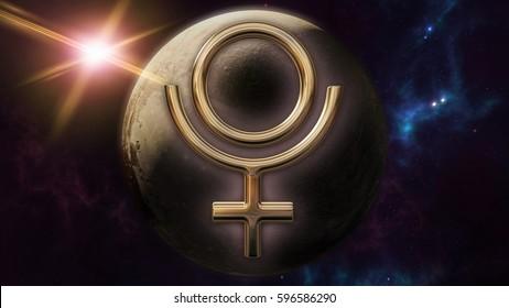 Pluto zodiac horoscope symbol and planet. 3D rendering