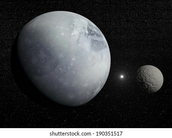 Pluton, its big moon Charon and Polaris star in dark starry background - Elements of this image furnished by NASA