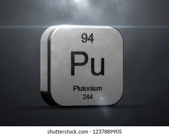 Plutonium element from the periodic table. Metallic futuristic icon 3D rendered with nice lens flare