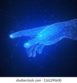 Plygon network hand touch the future. Smart contract agreement, blockchain and cryptocurrency, business network, 4IR Fourth Industrial Revolution concept.