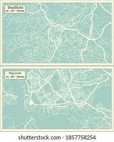 Plymouth and Sheffield Great Britain (United Kingdom) City Maps Set in Retro Style. Outline Maps.