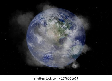 PM 2.5 over the world. Elements of the furnished by NASA.