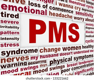PMS medical poster design. Premenstrual problems warning message