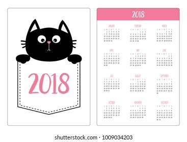 pocket calendar 2018 year week starts sunday black cat head face in the pocket