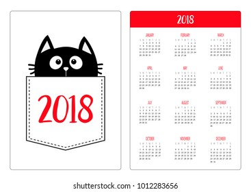 pocket calendar 2018 year week starts sunday black cat head face in the pocket