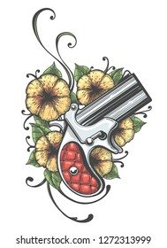 Pocket Gun and Flowers drawn in tattoo style. illustration.