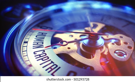 Pocket Watch Face with Human Capital Inscription, Close View of Watch Mechanism. Business Concept. Light Leaks Effect. 3D.