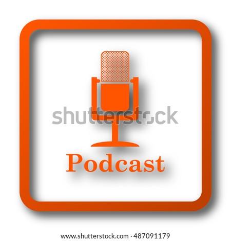 Podcast Icon Internet Button On White Stock Illustration