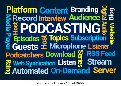 Podcasting Word Cloud on Blue Background