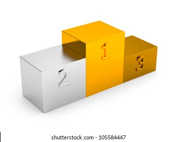Podium with first, second and third places. Image contain clipping path