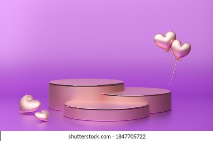 Podium with geometric shapes empty in purple or violet composition for modern stage display and minimalist mockup ,abstract showcase background ,Concept 3d illustration or 3d render