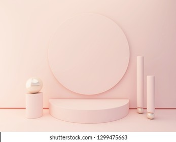 Podium Minimal 3d. Pink and pastel colors mock up. abstract background. Group of set. Scene with geometrical forms.  Circular model.  Decorative detail in metal.