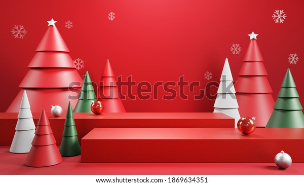 Podium and minimal abstract background for Christmas, 3d rendering geometric shape, Stage for product.