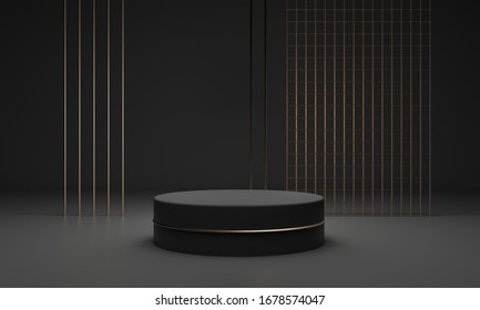 Podium for mockup template with copy space. Dark matte pedestal - an exhibition of branded products, goods. Gold glitter decor design. Luxury expensive studio - 3d render illustration.