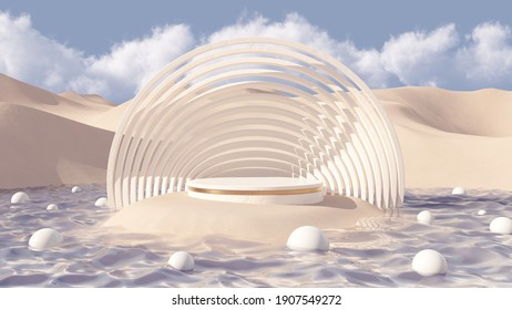 Podium for packaging or cosmetics presentation. Minimal mockup background with marble product podium and geometric abstract stone shapes, sand dunes with water and cloudy sky. 3d rendering.