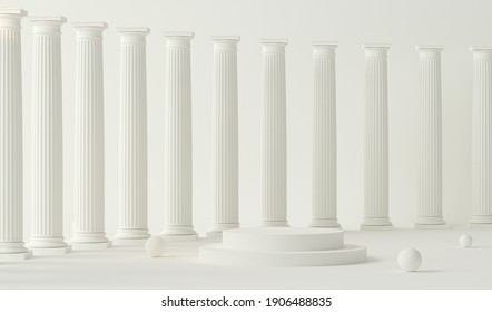 Podium pedestal in ancient Greek style. Minimal scene in pastel cream and white room with marble colonnade and classic columns. Trendy 3d render for social media, promotion, cosmetic product show.
