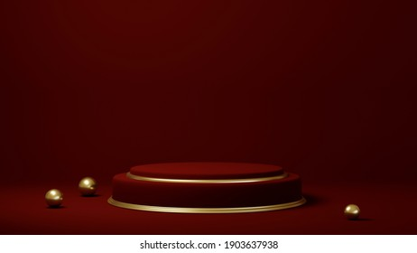 Podium, pedestal or platform, background for the presentation of cosmetic products. Place for ads. 3D rendering red stage geometry with gold. Product presentation blank podium.