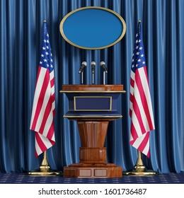 Podium speaker tribune.USA flag.Briefing of president of United States.3d illustration