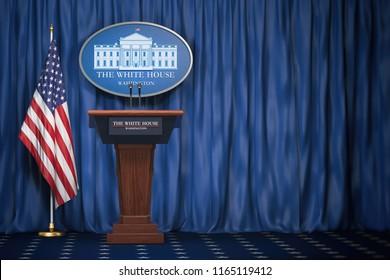 Tribune de altavoces de podio con banderas de EE.UU. y signo de la Casa Blanca con espacio para texto.  Presentación de información del presidente de los Estados Unidos en la Casa Blanca. Concepto político. Ilustración 3d