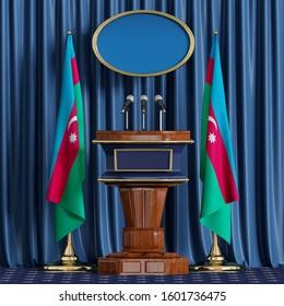 Podium speaker tribune.Azerbaijan flag.Briefing of president of Azerbaijan.3d illustration