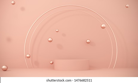 Podium, stand on pastel light, beige background with flying golden balls, spheres. Premium background for advertising goods, items, bags, shoes. Stylish trendy illustration,graphic design -3D, render.