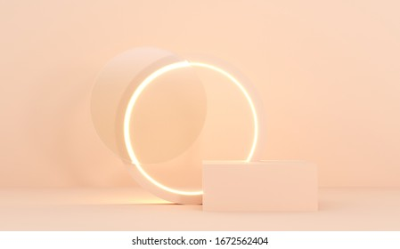 Podium, stand on pastel light, beige background with a luminous, glowing circle. Premium background for advertising goods, products, skin care. Stylish trendy illustration,graphic design -3D, render.