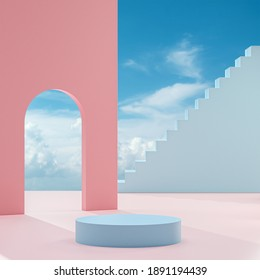 Podium stand on a peach background with blue sky and clouds on a sunny day 3d render
