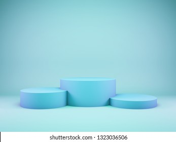 Podium for winner in bluel tone. 3D illustration.