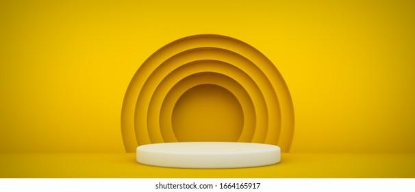 Podium mit gelben Kreisen 3D-Rendering-Hintergrund