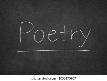 poetry concept word on a chalkboard background